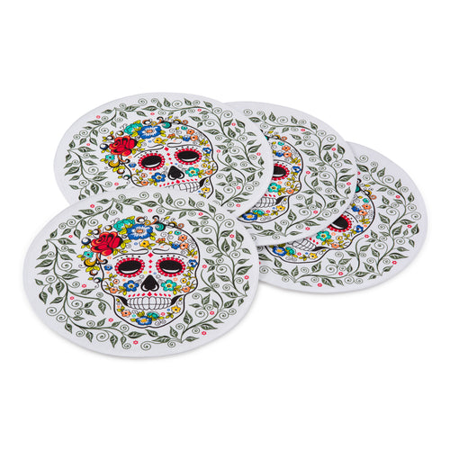 Sugar Skull 4 pack Place mats, linens - Fiesta Factory Direct by Homer Laughlin China.  Dinnerware proudly made in the USA.