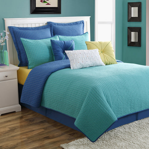 Dash Quilt Set Lapis/Turquoise - Fiesta Factory Direct