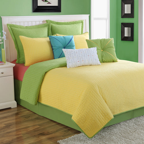 Dash Quilt Set Lemongrass/Sunflower - Fiesta Factory Direct