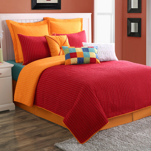 Dash Quilt Set Scarlet/Tangerine, Bedding - Fiesta Factory Direct by Homer Laughlin China.  Dinnerware proudly made in the USA.