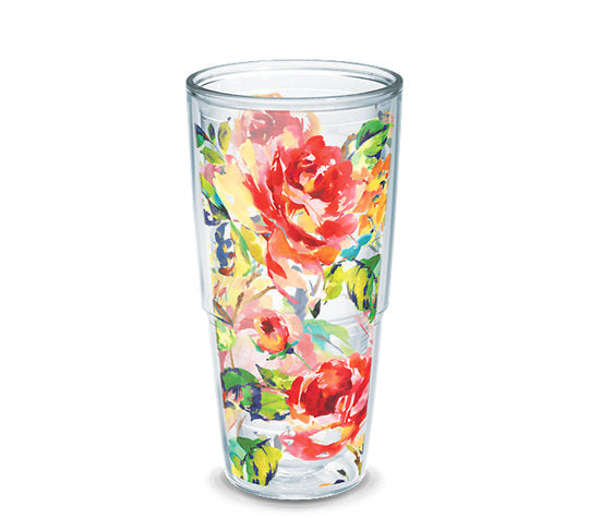 Fiesta® Floral Bouquet 24 oz Tumbler, Tervis Tumbler - Fiesta Factory Direct by Homer Laughlin China.  Dinnerware proudly made in the USA.