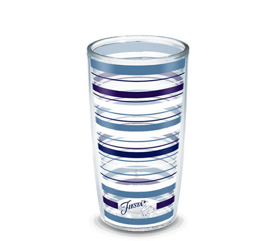 Fiesta® Stripes Lapis 16 oz Tumbler, Tervis Tumbler - Fiesta Factory Direct by Homer Laughlin China.  Dinnerware proudly made in the USA.