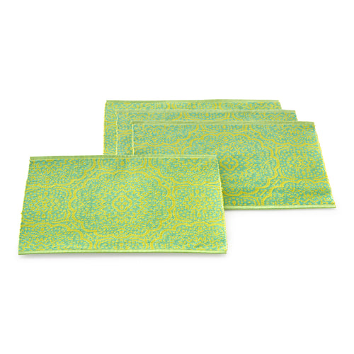 Global Geo Rib 4 pack Place mats Turquoise