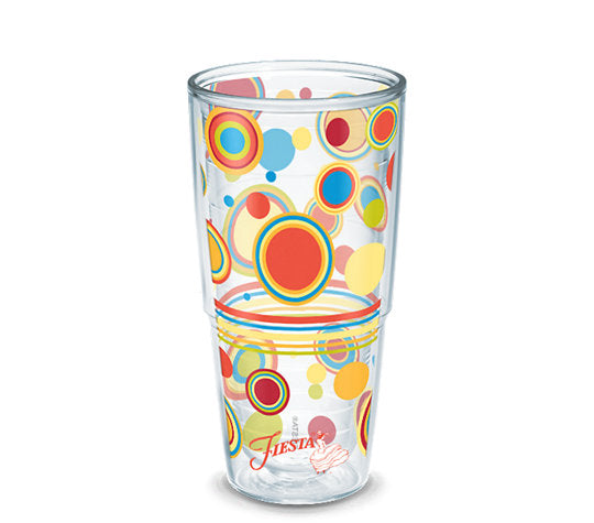 Fiesta® Dots Poppy 24 oz Tumbler, Tervis Tumbler - Fiesta Factory Direct by Homer Laughlin China.  Dinnerware proudly made in the USA.