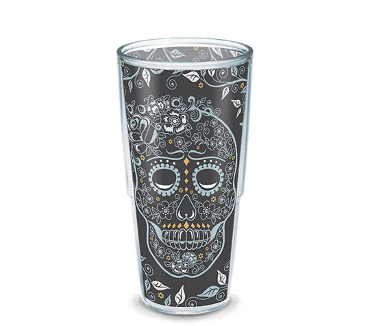 Fiesta® Skull and Vine 24 oz Tumbler, Tervis Tumbler - Fiesta Factory Direct by Homer Laughlin China.  Dinnerware proudly made in the USA.
