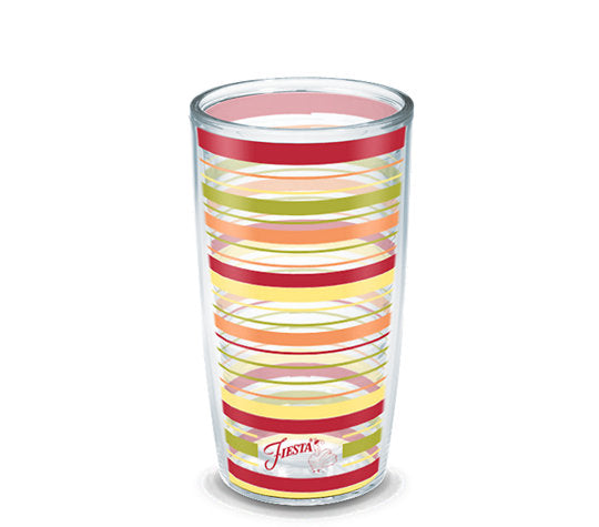 Fiesta® Stripes Sunny 16 oz Tumbler, Tervis Tumbler - Fiesta Factory Direct by Homer Laughlin China.  Dinnerware proudly made in the USA.