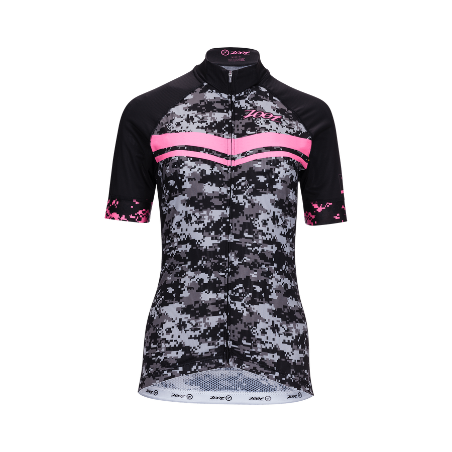 Zoot Sports CYCLE APPAREL X-SMALL / HIGH VIZ PINK WOMENS LTD CYCLE JERSEY - CAMO