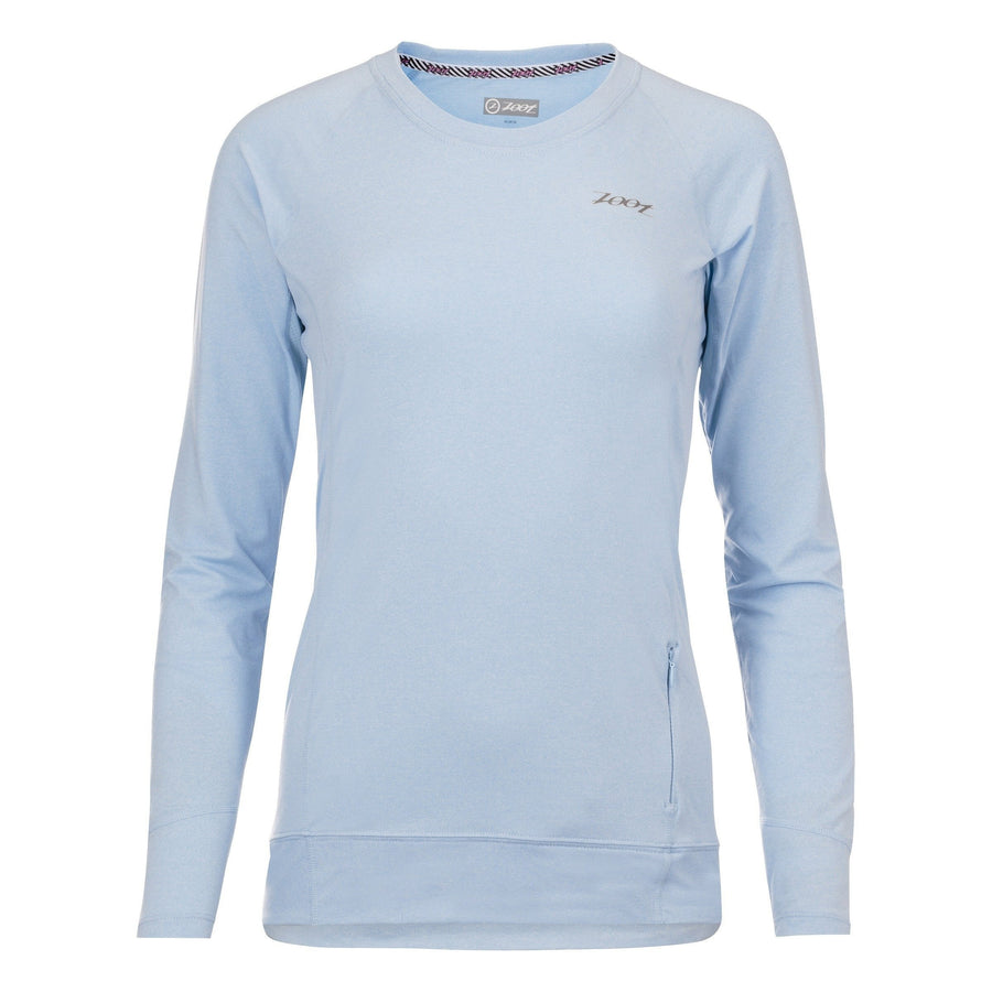 Zoot Sports RUN APPAREL X-SMALL / BLUE ICE HEATHER WOMENS RUN OCEAN SIDE LS - BLUE ICE HEATHER