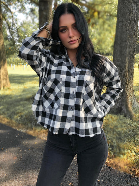 Into The Woods Plaid Top -Black