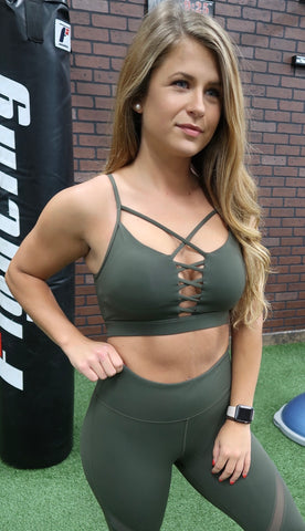 Maxed Out Sports Bra- Dark Olive
