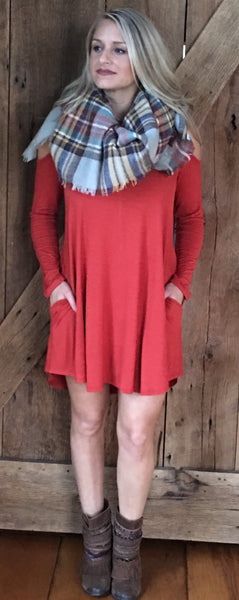 Secret Love Cold Shoulder Dress - Rust