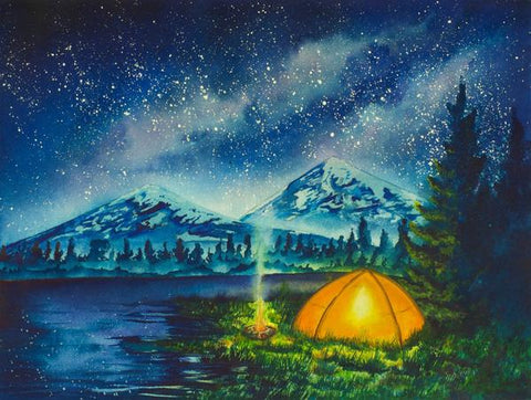 Camping under the stars hand painted artwork