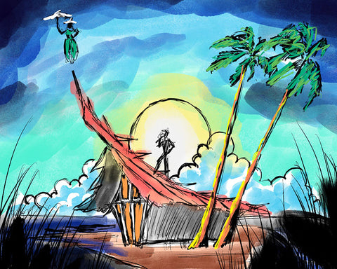 Dick Van Dyke Foundation Tiki Concept Art - Night