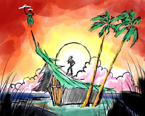 Dick Van Dyke Foundation Tiki Concept Art - Sunset
