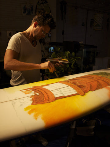 Surf Wall Art - Painting the Surf Board