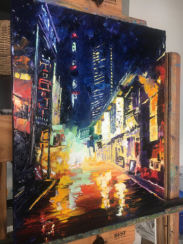 Rainy Street Scene Artwork in Process