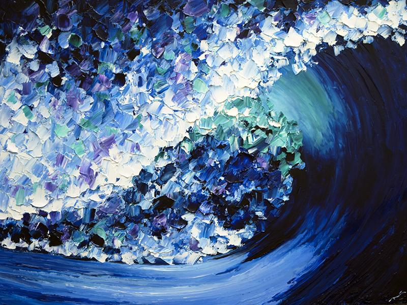 Blue Daze Abstract Wave Wall Art-nelsonmakesart