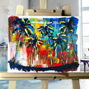 Capsule Tale #18 - Abstract Palm Trees Painting