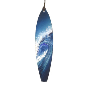 Hand Painted Wooden Big Blue Ocean Wave Surfboard Ornament for Christmas Holiday