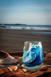 Hand Painted Surf White Wine Glasses-nelsonmakesart
