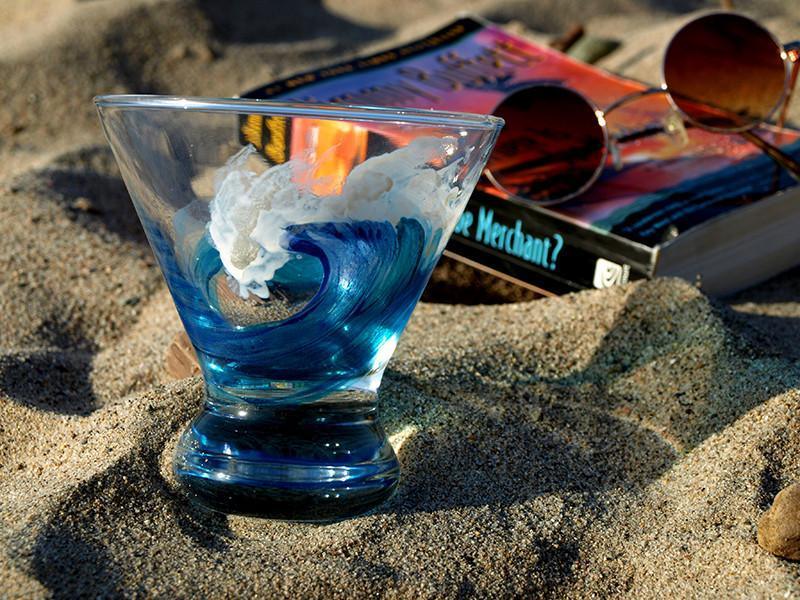 Hand Painted Translucent Surf Stemless Martini Glasses-nelsonmakesart
