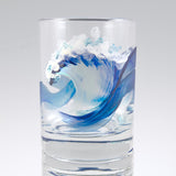 Hand Painted Old Fashioned Tumbler Wave Glasses by Nelson Makes Art