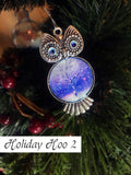 Silver Christmas tree ornament shaped like owl with blue swirled eyes and painted Christmas tree stomach.