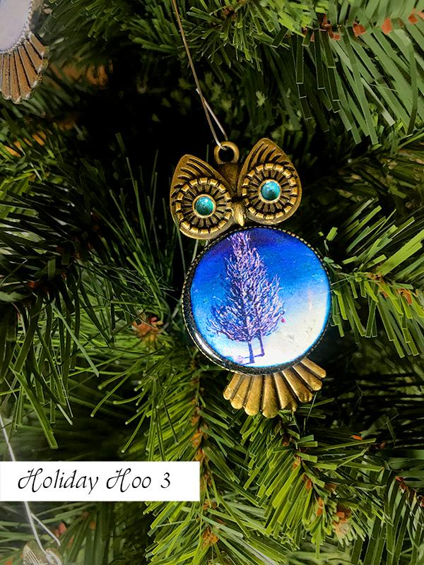 Blue and white Christmas ornament, perfect for your owl Christmas tree decorations, with painted belly and swirled eyes.