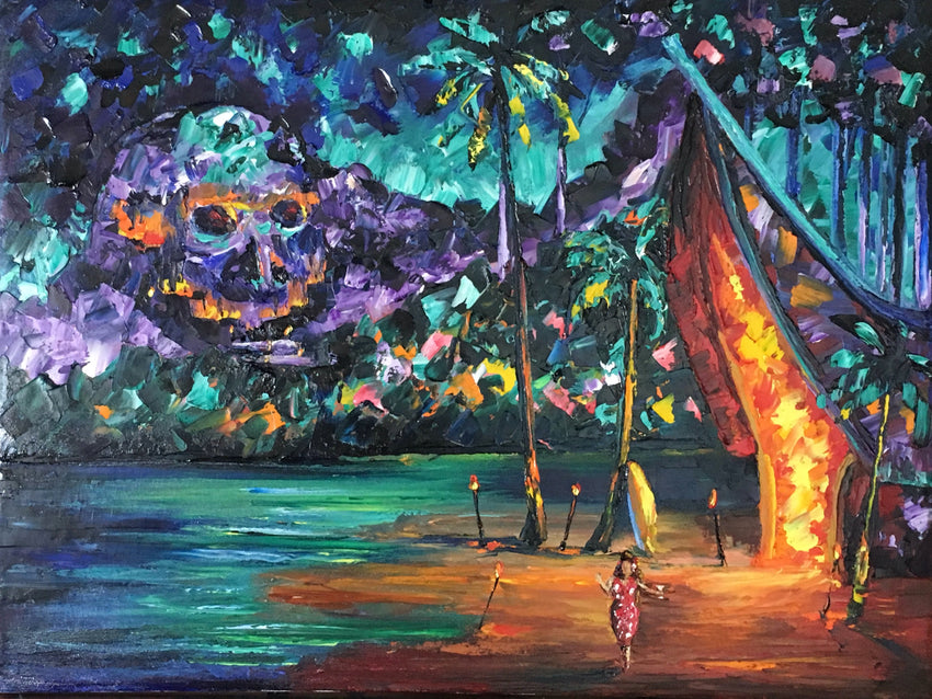 Tiki Adventure #1-Friday Night Tiki Lights-Original Art-nelsonmakesart