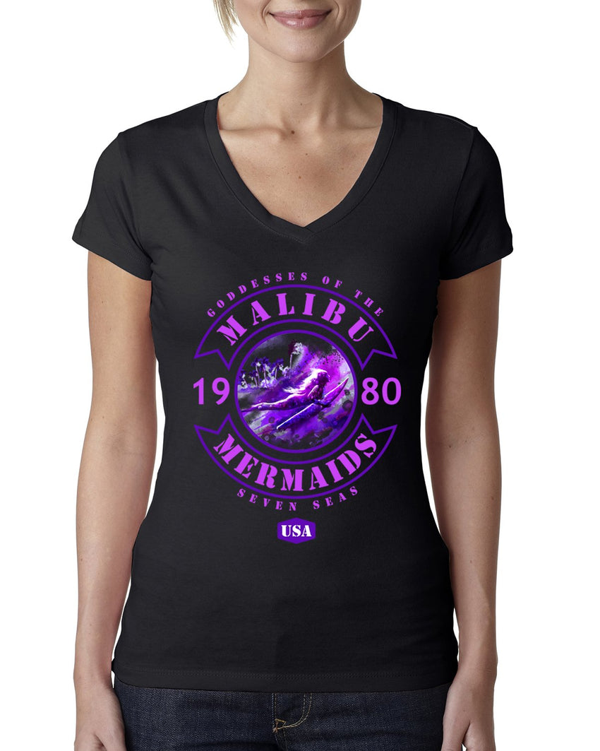 Malibu Mermaids Ladies V-neck T-shirt-nelsonmakesart