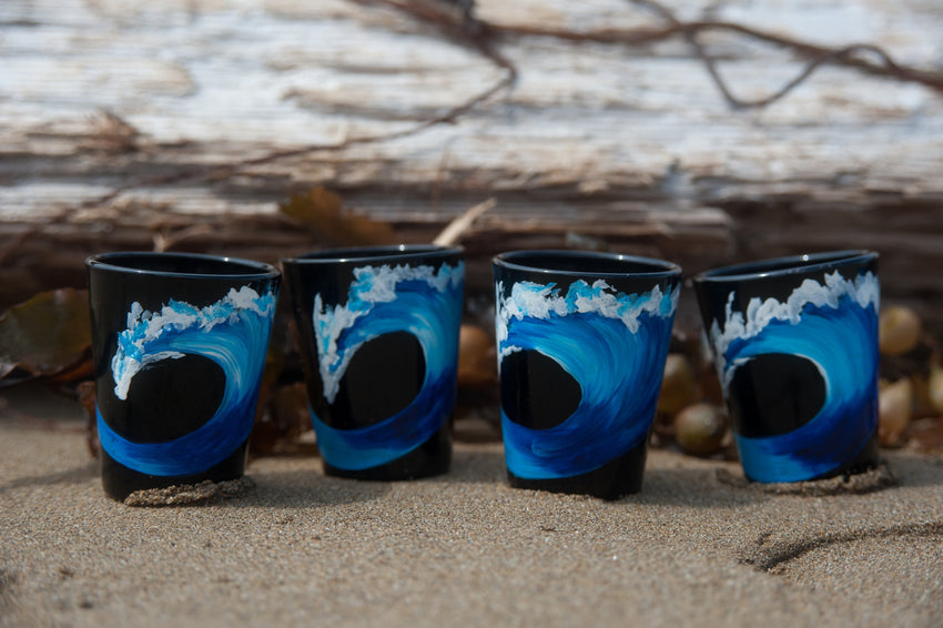 Hand Painted Midnight Surf Shot Glasses-nelsonmakesart