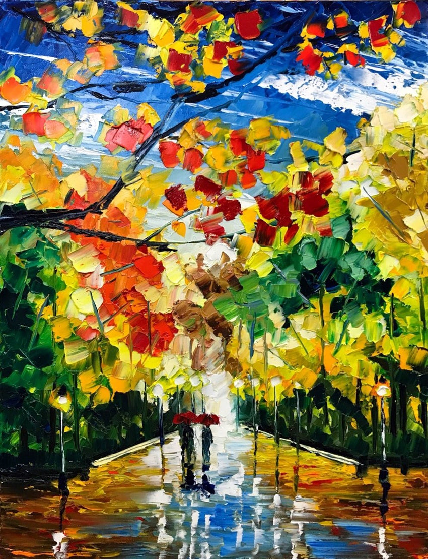 Autumn in the City Oil Painting by Nelson Makes Art