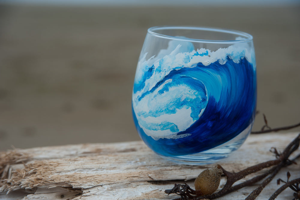 Hand Painted Surf Red Wine Glasses-nelsonmakesart
