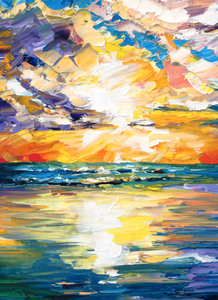 Impressionist Beach Sunset Wall Art Canvas by Nelson Makes Art