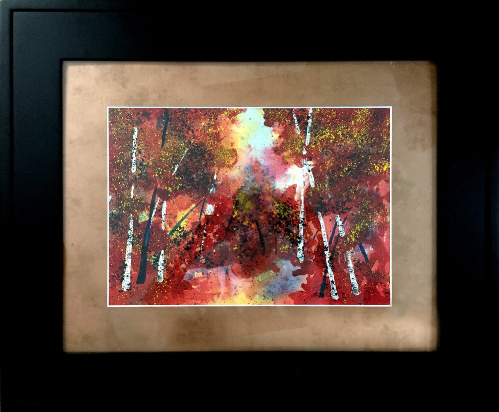 Framed wall art of an original watercolor painting. The zen watercolor style is a soothing piece of fall decor for home or office by Nelson Ruger.