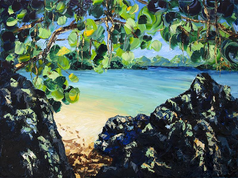 Caribbean Sea St. John's Oil Painting Artwork by nelsonmakesart