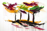 Original abstract acrylic painting on canvas of dancing trees with vibrant fall foliage colors