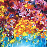 Close detail of original oil painting for sale. Vibrant fall foliage painted with a palette knife and oil paint on canvas.