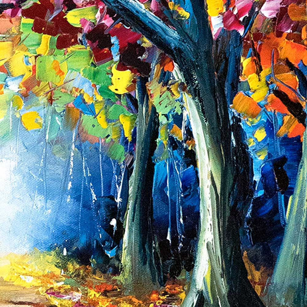 Tree trunks against a blue sky and vibrant fall foliage. Close detail of original oil painting for sale.