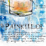 Bar cart art of Painkiller cocktail recipe painted with colorful drink on blue background