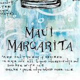 Maui Margarita recipe drawn on textured blue background around colorful painted cocktail