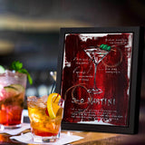 Classy home bar with drinks and framed painting of 3 Olive Martini on red abstract background with sketched recipe