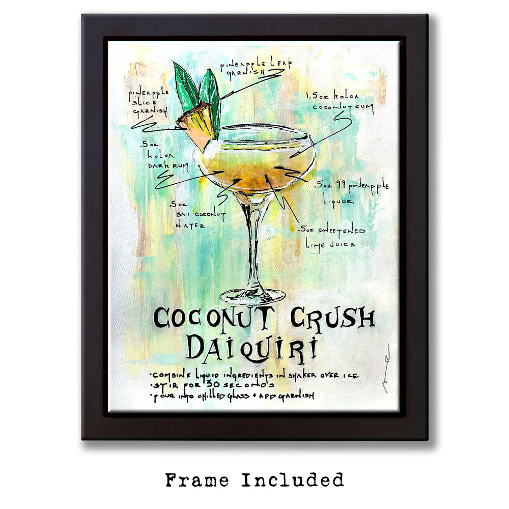 Framed original illustration of tropical daiquiri with hand-written recipe and details