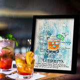 Retro wall art of Maui Margarita recipe drawn around colorful image of the cocktail