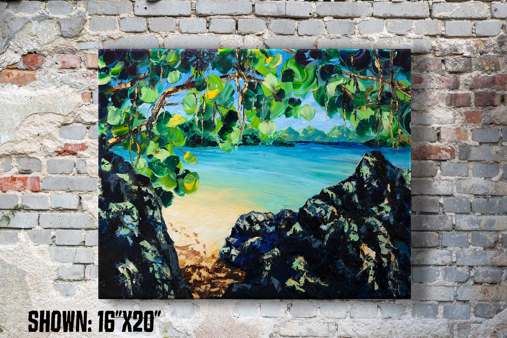 Large printed wall art of secret beach in Virgin Islands with turquoise lagoon and white sand