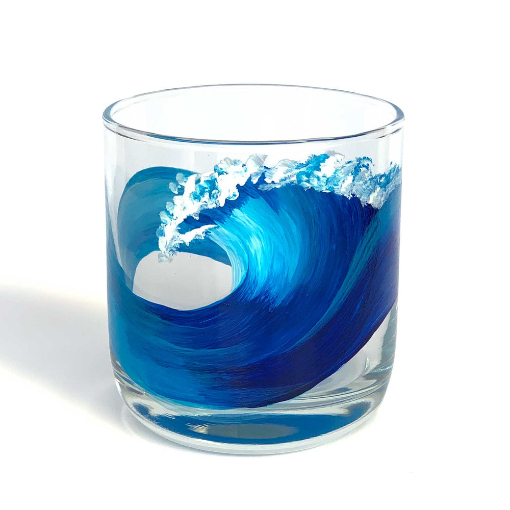 Nautical Cocktail Glasses with a hand painted blue ocean wave by Nelson Makes Art