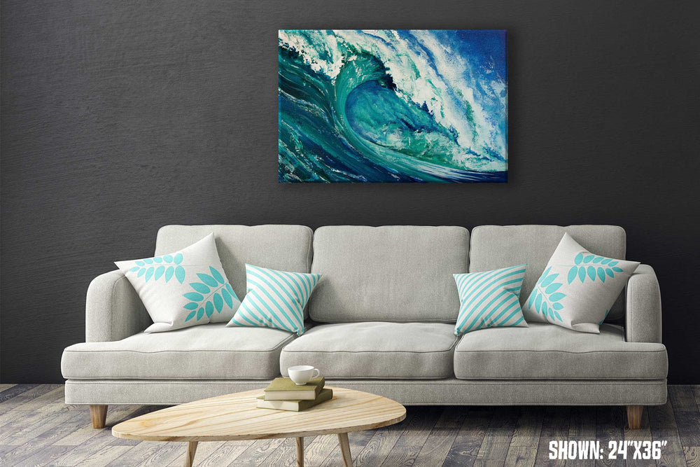 Blue and green wall art of crashing ocean wave in a modern gray living room