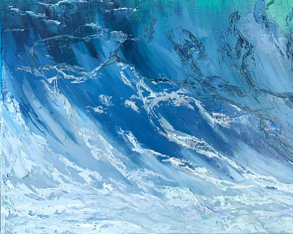 Ocean Wall Art of Clear Blue Wave with Crashing Sea Foam