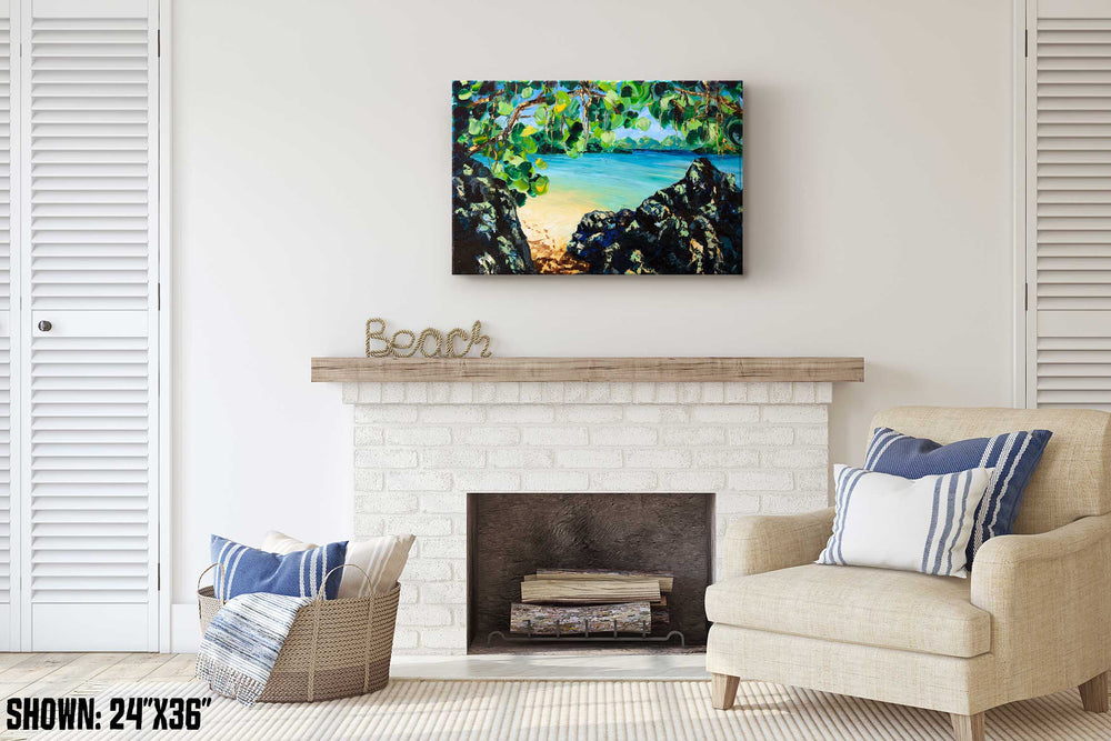 Tropical oil painting of secret island getaway with calm teal water and white sand beach