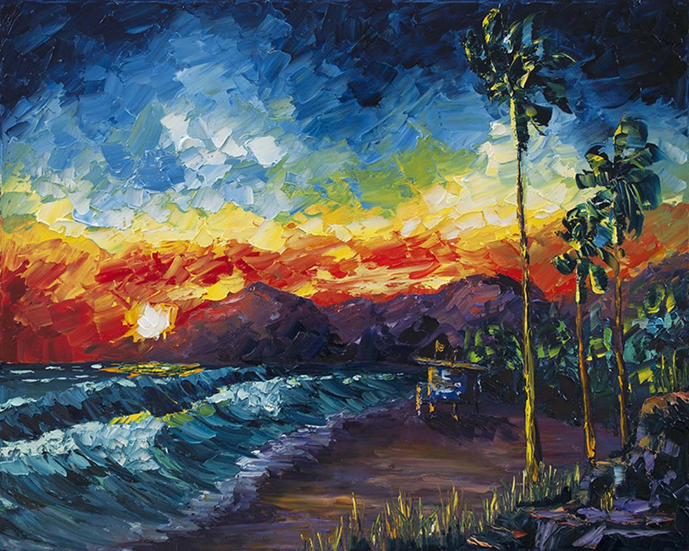 California Coast Art of Red Sunset over Ocean Waves with Palm Trees